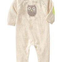 Intarsia owl sweater one-piece
