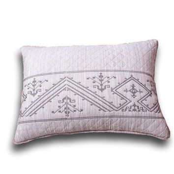 "DaDa Bedding Elegant Fair Isle Purple Grey Yarn Dyed Quilted King Pillow Sham, 20"" x 36"" (JHW866)"