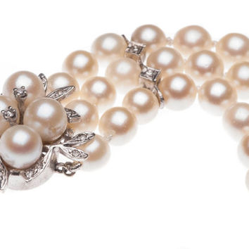 Vintage 3 Strand Diamond Cultured Pearl Bracelet 14k Karat White Gold Estate Jewelry Fine 1950s