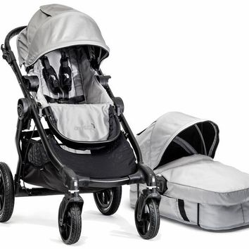 Baby Jogger City Select Stroller Silver with Bassinet Pram System Travel 2017