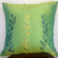 "finds handmade craft, Green embroidered Three Leaves Throw pillows 18"" x18"" in Blue and Golden Colour Decorative Pillow"