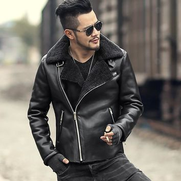 2018 Men slim woolen black fur collar motorcycle bikers faux leather jacket coat metrosexual man warm casual new design jacket