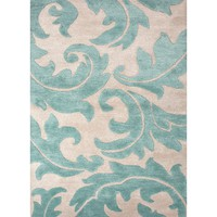 Blue Coll. Hand-Tufted Floral Pattern Wool/Art Silk Ivory/Blue Aloha Area Rug (3.6 x 5.6)