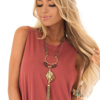 Gold Chain Tassel and Gemstone Necklace with Suede Detail