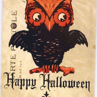 Vintage Halloween Owl  Tags for Treat Bags, Party Favors