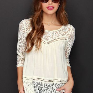 White Cutout Lace Half-Sleeve Shirt