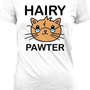 Funny Cat T Shirt Gifts for Cat Lovers Hairy Pawter Movie Parody Kitty T Shirt Novelty Gifts Mens Ladies Tee MD-418