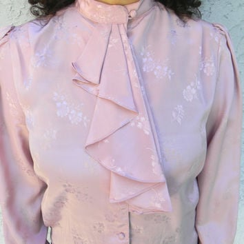 Vintage Office Wear - 80s Secretary Blouse w Ascot Ruffle - Cotton Candy Pink Top by Amelia B - Size Medium M