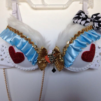 White Rabbit Rave Bra / Alice in Wonderland Rave Bra Costume / EDC  Bra / Rave Top