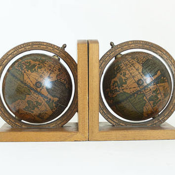 Vintage Globe Bookends, Spinning Old World Map Globes with Sea Monster Print, Wooden Book Ends