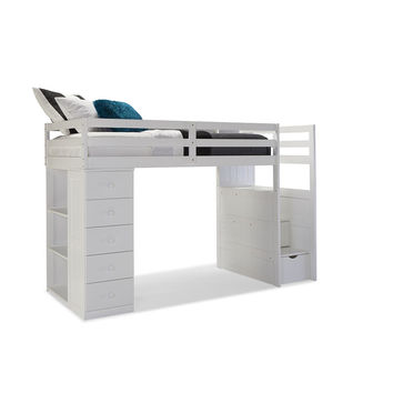 Canwood Mountaineer Twin Loft Bed with Storage Tower and Built in Stairs Drawers - White