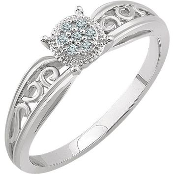 10K White Gold .05 CTW Diamond Multi Stone Filigree Shank Promise Ring