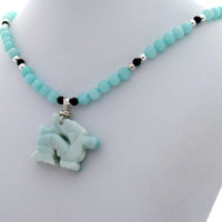 Amazonite Dragon Black Onyx Handmade Designer Pendant Necklace