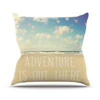"Kess InHouse Sylvia Cook ""Adventure is Out There"" Outdoor Throw Pillow, 20 by 20-Inch"