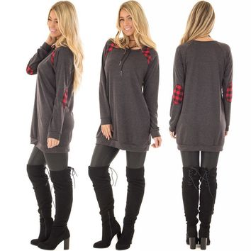 Autumn Hot Sale Plus Size Women's Fashion Pullover Plaid Patchwork Hoodies One Piece Dress [274458640413]
