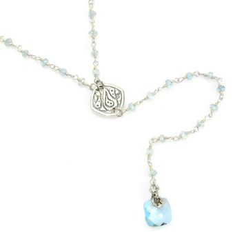 Blue Topaz and Sterling Silver Rosary Chain Y Necklace
