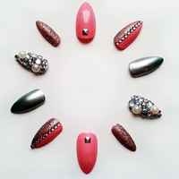 Pink & Silver Stiletto Fake Nails, Hand Painted False Stiletto Nails, Handpainted Artificial Nails, Nail Art Design