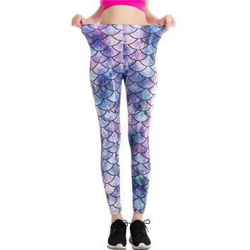 Mermaid Scales Fish Scales Purple Leggings