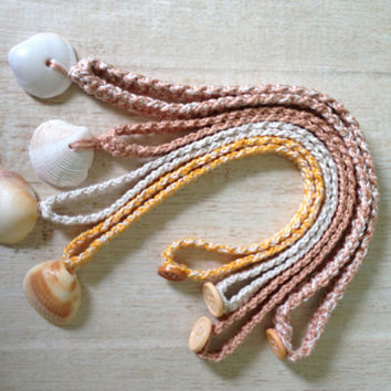 Shell Necklaces, Crocheted Shell Necklaces, Button Closure, Beach Jewelry