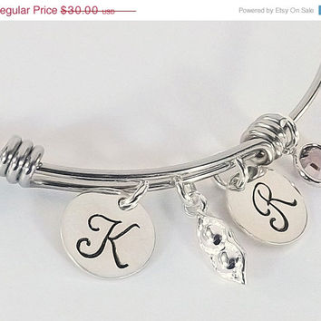 On Sale Hand Stamped Two Peas in a Pod Adjustable Bangle, Grandmother Granddaughter Bracelet, Best Friend Bangle with Pea Pod Charm and Crys