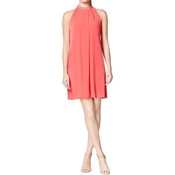 Calvin Klein Womens Embellished Pleated Cocktail Dress