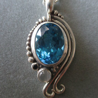 Sterling Silver One of a Kind Blue Topaz Pendant