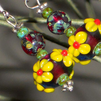 Flower Earrings, Glass Lampwork Flower Earrings With Yellow Flowers And Garnet Red Beads, Sunflower Earrings SILVER & BOTANICAL Collection
