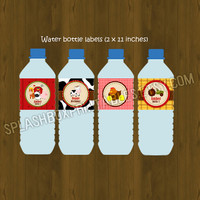 Barn Water Bottle Labels- Barnyard Barn Animals Printable Water Bottle Labels for Birthday or Baby Shower