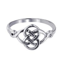 LWRS127-8 925 Sterling Silver Celtic Rounded Knot Design Ring