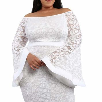 White Plus Size Long Bell Sleeve Lace Dress