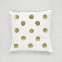 Gold Dots Pillow, Dots Pattern Pillow, Home Decor, Cushion Cover, Throw Pillow, Bedroom Decor,Modern Pillow, Bed Pillow, Gold Pillow,