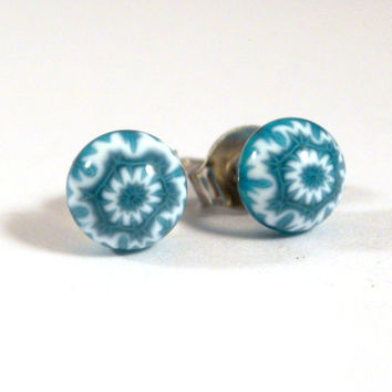Blue and White Snowflake Stud Earrings, Surgical Steel Posts, Fused Glass