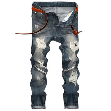 2018Fashion Brand Designer Mens Torn Jeans Pants Washed Slim Fit Distressed Denim Joggers Blue Ripped Jean Trousers Man LY169