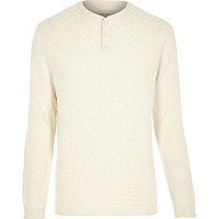 River Island MensEcru basket stitch sweater