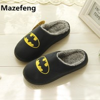 Winter Fashion Couples Cotton Slippers Men Women Superhero Indoor Warm Home Slippers Size 37-44 Chinelo Masculino