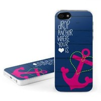 Drop Anchor Design Clip on Hard Case Cover for Apple iPhone 5 / 5S Cell Phone