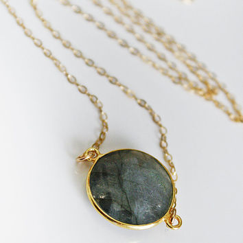 Labradorite Coin Necklace by shopkei on Etsy