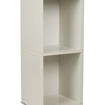 Way Basics Double Cube Tall Bookcase - White