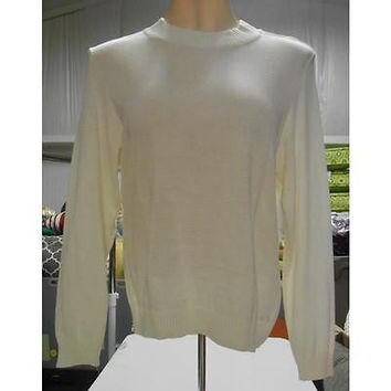 Women's Mock Neck Zip Sweater, Medium, White Rochelle