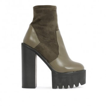 Sock Fit Cleated Ankle Boots Olive
