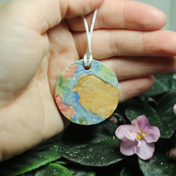 Aromatherapy pendant Watercolor bird and cherry blossoms AT1