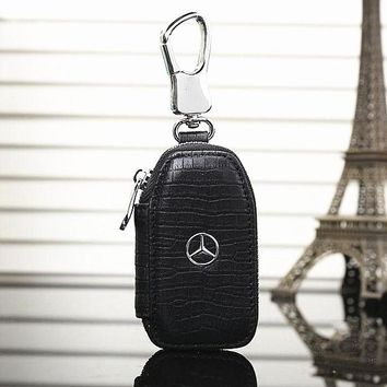 Benz Fashion Leather Zipper Car Key Wallet Case Cover