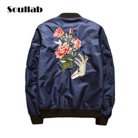 Men's Special Flower Embroider Fashion Casual MA1 Bomber Urban Jacket