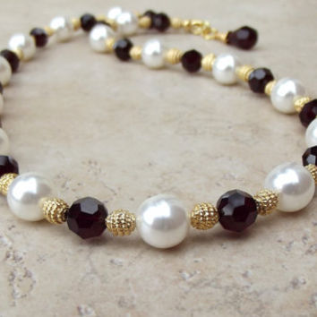Pearl and Garnet Necklace:  Red and Gold Beaded Statement Victorian Style Wedding Jewelry