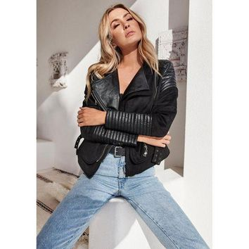DCCK6HW Women Simple Fashion Lapel Long Sleeve Cardigan Artificial Leather Stitching Punk Motorcycle Jacket Irregular Coat