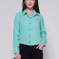 Long Sleeve Collar Front Button Chiffon Blouse