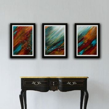 Set of 3 String Artwork, Red and Blue Abstract set of 3 Artwork, Art Paper Print, Print Artwork, Large Print Artwork, Printable Abstract Art