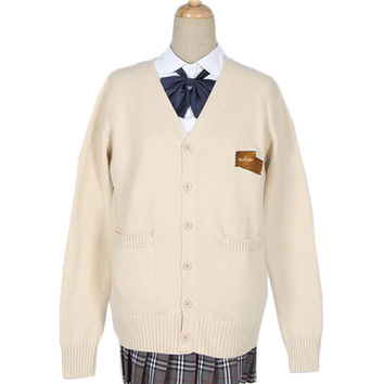 Quality JK Uniform Cute Cookie Embroidered Cardigan Japanese Student Thick Cotton Knitted Loose Cardigan Sailor Coat Plus Size