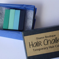 Cool Colored Hair Chalks - 4 Pack - Temporary Color Pastels, Shades of Blue and Teal