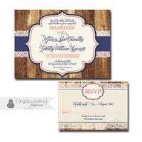 Rustic Wood & Lace Wedding Invitation Response Card 2 Piece Suite RSVP Shabby Chic Navy Coral DIY Digital or Printed - Hillary Style
